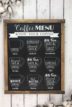 sign - Know your coffee - Coffee menu - Vintage coffee sign - Bar - Bar sign - Coffee . Coffee sign - Know your coffee - Coffee menu - Vintage coffee sign - Bar - Bar sign - Coffee decoration - Kitchen sign,Coffee sign - Know your coffee - Co. Menu Vintage, Vintage Coffee Signs, Coffee Bar Signs, Coffee Bars In Kitchen, Coffee Bar Home, Coffee Corner, Coffe Bar, Coffee Nook, Small Coffee Shop