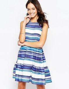 Image 1 ofCloset Stripe Skater Dress In Scuba