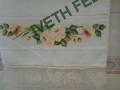 Toalha de lavabo-pintura em tecido.
