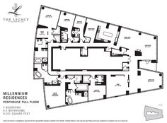 Penthouses in Chicago Floor Plans | The full floor 71st floor penthouse (floor plan below) has 13-foot ...