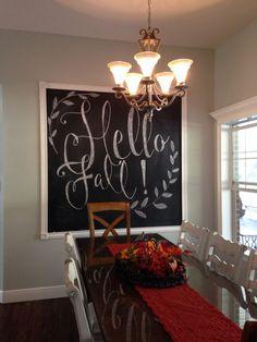 I would really love a chalkboard thos size! Fall Chalkboard Art, Thanksgiving Chalkboard, Chalkboard Writing, Kitchen Chalkboard, Chalkboard Drawings, Chalkboard Lettering, Chalkboard Designs, Chalkboard Ideas, Halloween Chalkboard Art
