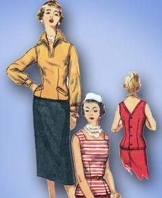 1950s Vintage Misses' Suit Uncut 1955 Simplicity Sewing Pattern 1053 Size 12