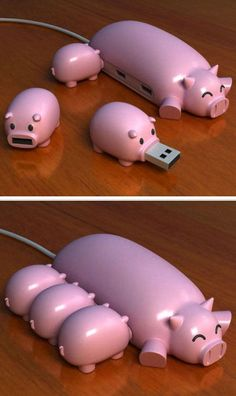 Pig USB Hub ❤︎ SO cUte! .. Will Keep Me Smiling All Day While I have To Work At My Computer :0)