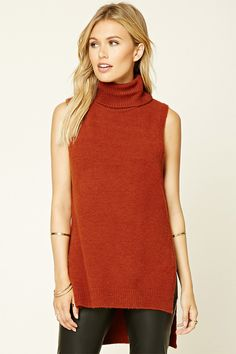 Forever 21 Contemporary - A knit top featuring a turtleneck, high-cut side slits, ribbed trim, and a sleeveless cut.