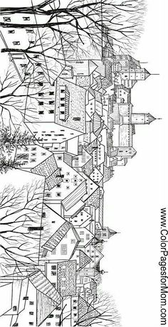 Free Printable Adult Coloring Pages - Geometric Coloring Pages Printable Adult Coloring Pages, Coloring Book Pages, Coloring Sheets, Landscape Drawings, Landscape Art, Art Plastique, Art Lessons, Pencil Drawings, Sketches