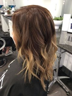 Blonde ombré bayalage with dark brown root