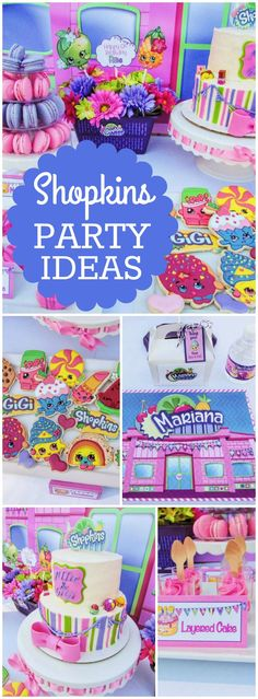 What a cute and colorful Shopkins birthday party! See more party ideas at CatchMyParty.com!
