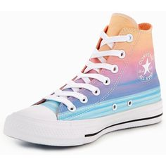 Converse Chuck Taylor All Star Hi Sunset ($71) ❤ liked on Polyvore featuring shoes, sneakers, star sneakers, fleece-lined shoes, converse footwear, converse shoes and converse sneakers