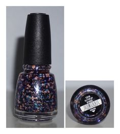 China Glaze Glitter Up  Peach and Blue Hexagon Glitter