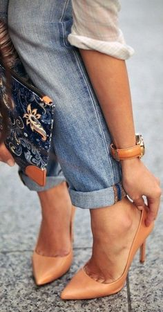 camel pumps and embroidered clutch.. fab way to dress up casual jeans and airy white blouse