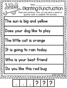 Printables Kindergarten Punctuation Worksheets simple sentences letters and stories on pinterest punctuation activity