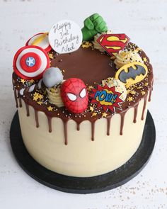 Superhero Buttercream Drip Cake
