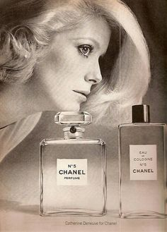French Actress Catherine Deneuve photographed by Richard Avedon for Chanel No. 5 Advertisement.Vogue,September 1972.