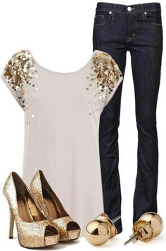 sparkly gold- idea for Christmas photo. jeans are too dark for our color theme, though.