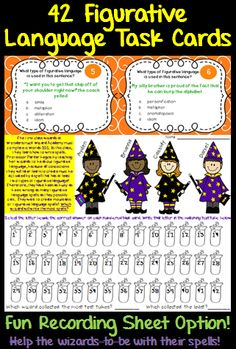 42 figurative language task cards with two types of question stems. Features simile, metaphor, alliteration, personification, idiom, hyperbole, and onomatopoeia!  This resource contains a traditional recording sheet and a game-like recording sheet!