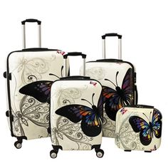I jut LOVE this set! World Traveler Butterfly 4-piece Hardside Spinner Luggage Set with TSA Lock