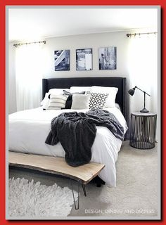 Black and white master bedroom with rustic touches Bedroom Sets, Apartment Furniture, Home Furniture, Bedroom Design, Black Painted Furniture, Luxurious Bedrooms, Cheap Bedroom Furniture, Simple Bedroom, Master Bedroom Furniture