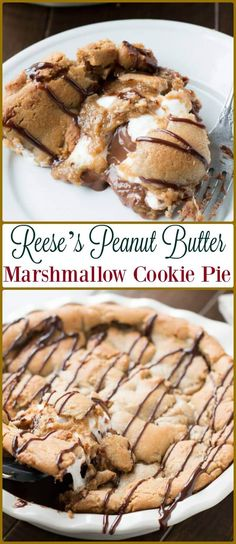 Reese's Peanut Butter Marshmallow Cookie Pie [+ Video] This Reese's Peanut Butter Marshmallow Cookie Pie is over the top delicious. Plus 3 questions that have changed my marriage and family. Cookie Pie, Cookie Dough, Pie Recipes, Cookie Recipes, Dessert Recipes, Matcha, Yummy Treats, Sweet Treats, Peanut Butter