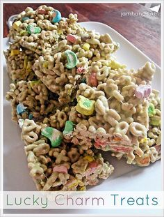 Lucky Charm Treats ~ A big hit with the kids and adults alike!!!!  Yummy!  You can use any cereal too.