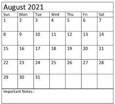 August Month Calendar, 2019 Calendar, Calendar 2019 Template, Calendar Printable, Fillable Calendar, Time Management Tools, Printables, Notes, Templates
