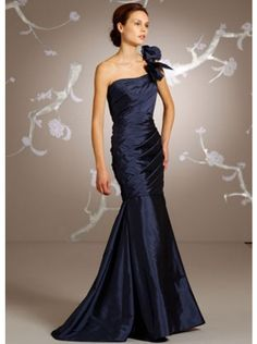 Fancy Trumpet Mermaid One Shoulder Court Train Blue Mother Of The Bride Dress  $251.99 Mother Of The Bride Dresses