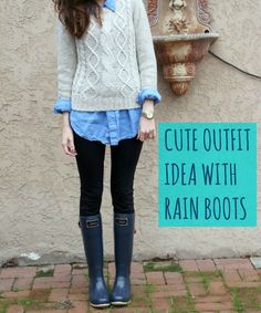 Cute outfit idea with rain boots from Joules! | cold weather fashion | fall fashion | winter fashion | fashion || Katie Did What