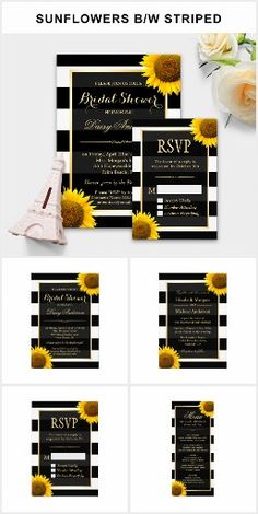 Glam Sunflower BRIDAL SHOWER SET Striped Black & White Modern Chic Pretty Personalized Sunflowers Bridal Shower Invites Announcements Invitations RSVP Menu Cards & More!