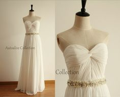 Strapless Sweetheart Ivory Chiffon Simple Wedding by autoalive, $169.00