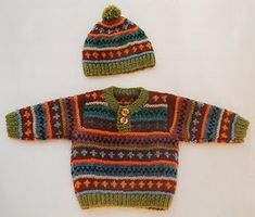 Lovely baby boy sweater and cap Fair Isle Knitting. : Lovely baby boy sweater and cap Fair Isle Knitting.