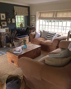 Cottage Living Rooms, My Living Room, Living Room Interior, Home Interior Design, Living Room Decor, Living Spaces, Dining Room, Light Brown Couch, Log Burner Living Room