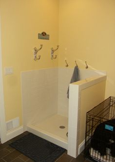little shower in the mudroom for pets and muddy boots!
