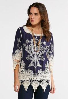 ba7b8beebaa Cato Fashions Plus Size Embroidered Lace Trim Tunic  CatoFashions Fashion  Tips For Women