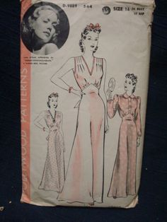 1940s Nightdress Nightgown Hollywood Pattern 544 by kinseysue, $30.00