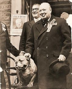 Sometime ago I was told a person will resemble their dog. Or the dog well you know... Old Photos, Vintage Photos, Bullen, British Bulldog, Winston Churchill, Churchill Quotes, Vintage Dog, British History, Mans Best Friend