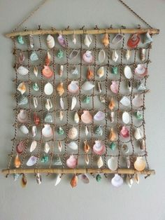 deco coquillage filet mural facile a realiser coquillage peints