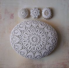 Crochet-Bombed rocks......Crocheted Lace Stone, Large,White, Floral Motif, Light Gray Stone, Handmade