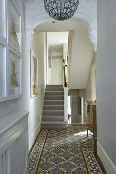 Entry Hallway Floor Hallway Tile Ideas Hall With Narrow Hallway Tiled Floor Narrow Hallway Home Entryway Decor ideas modern entryways ideas storage ideas long ideas rustic Entrance Hall Decor, Decoration Hall, Hallway Ideas Entrance Narrow, Entry Hallway, House Entrance, Entryway Decor, Entrance Halls, Victorian Hallway Tiles, Edwardian Hallway
