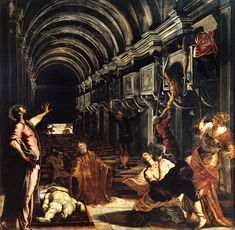 TINTORETTO, St Mark Working Many Miracles, 1562-66. Oil on canvas, 396 x 400 cm. Pinacoteca di Brera, Milan.