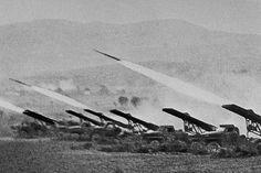 """Stalin's organ"", Katyusha rockets firing on German positions."