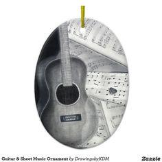 Guitar & Sheet Music Ornament