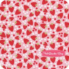Strawberry Tea Party Pink Blossom Berries Yardage SKU# CX4905-PINK-D - Fat Quarter Shop