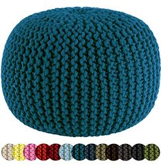 Cotton Craft - Hand Knitted Cable Style Dori Pouf - Teal - Floor Ottoman - 100% Cotton Braid Cord - Handmade & Hand stitched - Truly one of a kind seating - 20 Dia x 14 High Cotton Craft http://www.amazon.com/dp/B00IE7H784/ref=cm_sw_r_pi_dp_nG7vwb1T1A79D