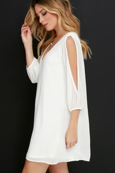 When it's time to shift your gears into glamour mode, the Shifting Dears Ivory Long Sleeve Dress is our most dearly beloved dress! Shift dress with cold shoulder cutout sleeves. Simple Dresses, Cute Dresses, Casual Dresses, Dresses With Sleeves, Lulu's Dresses, Party Dresses, Perfect Little Black Dress, Little White Dresses, Dress Outfits