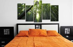 5 Pieces Multi Panel Modern Home Decor Framed Bamboo Forest Landscape Wall…