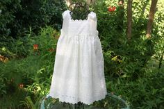 Flower girl dress ivory  with satin ribbon by AnastaciayGus, $89.00