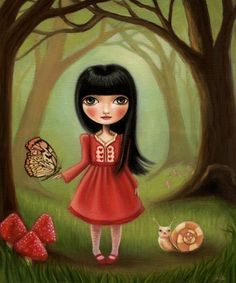 Woodland girl - The Bright Forest print on premium matte paper - Alice in Wonderland inspired art by Marisol Spoon