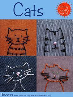 Bestickte Katzen PDF-Muster von ShinyHappyWorld auf Etsy