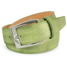 Pakerson Men's Pistachio Green Hand Painted Italian Leather Belt ($252) ❤ liked on Polyvore featuring men's fashion, men's accessories, men's belts, belts, mens green belt, mens belts, mens leather belt and mens green leather belt