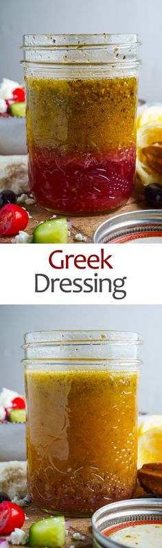 Greek Dressing Recipe : A quick, easy and tasty homemade Greek style salad dressing! Salad Recipes Gluten Free, Sauce Recipes, Cooking Recipes, Avocado Recipes, Cooking Tips, Homemade Seasonings, Homemade Sauce, Salad Dressing Recipes, Salad Dressings