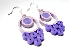 Unique Handmade Purple Earrings / Quilled por SimplyQuilledDesigns